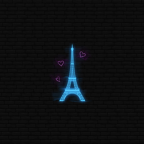 Eiffel Tower Neon Blue