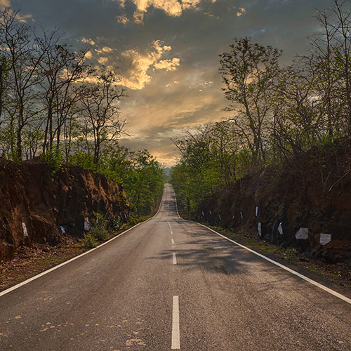 Long Road Evening India